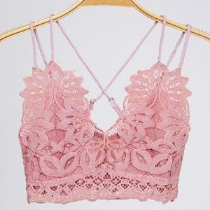 Light Pink Crochet mesh lace bralette